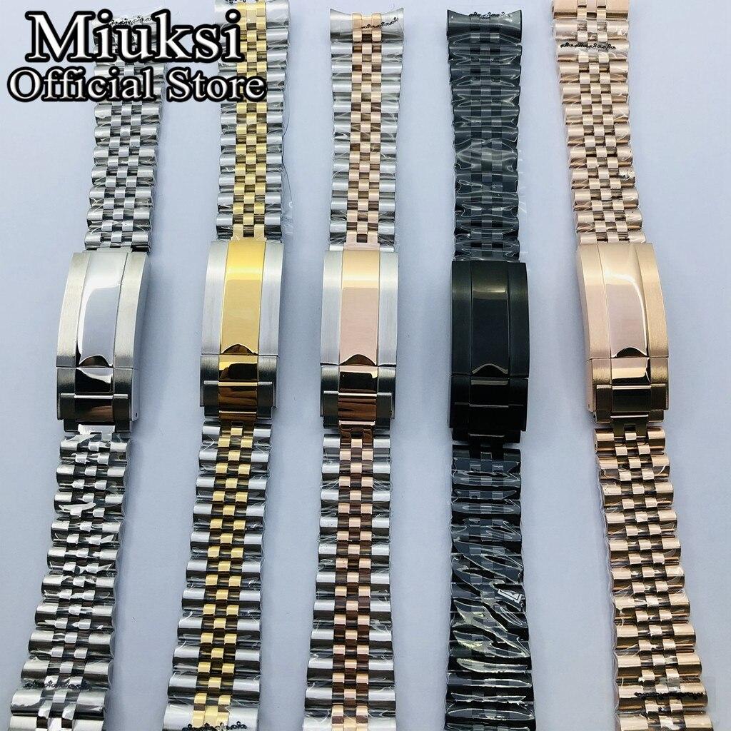 Miuksi 20mm silver gold rose gold black jubilee stainless steel watch band folding buckle fit watch case strap bracelet