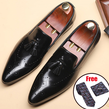 Genuine leather men brogue Business Wedding banquet shoes mens casual flats shoes vintage handmade oxford shoes for men 2020 mycolen new fashion mens office lace up classic leather shoes men s casual party driving man vintage carved brogue flats