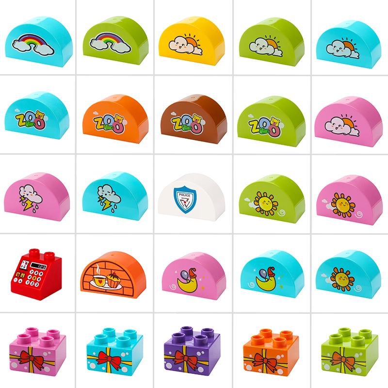 New Big Size Building Blocks Compatible Duplo Animal Food The Weather Creator Scene DIY Accessories Bricks Kids Baby Toy