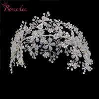 Элегантные хрустальные повязки для невесты, Серебряные стразы, тиара для волос, головной убор, женские свадебные аксессуары для волос ручно...