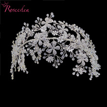 Elegant Bride Crystal Headbands Rhinestone Tiara Hairbands Headpiece Women Handmade Wedding Hair Accessories RE3538