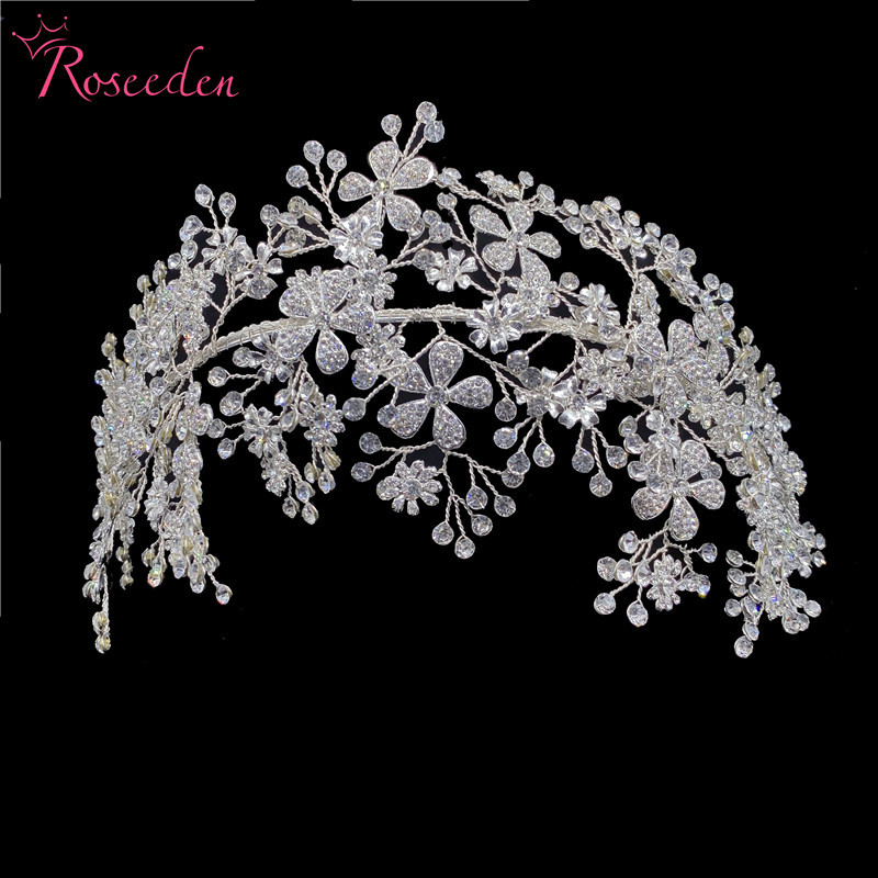 Elegant Bride Crystal Headbands Silver Rhinestone Tiara Hairbands