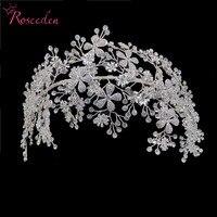 Elegant Bride Crystal Headbands Silver Rhinestone Tiara Hairbands Headpiece Women Handmade Wedding Hair Accessories RE3538