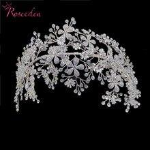أنيقة العروس كريستال Headbands حجر الراين تيارا عصابات الشعر خوذة المرأة اليدوية الزفاف إكسسوارات الشعر RE3538