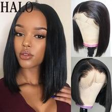 Perruque Bob Lace Frontal Wig brésilienne naturelle, cheveux courts lisses, 4x4, 13x4, pre-plucked, avec Baby Hair
