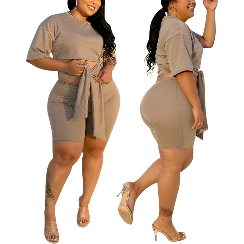 Plus Size women summer short set  1
