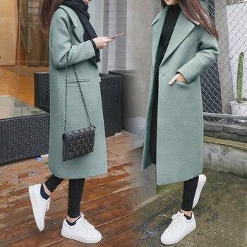 2019 New Women Coat Fashion  Blended Women Coat Slim Long Wool Coat Spring Autumn Women Wool Coats Popular Jackets 1