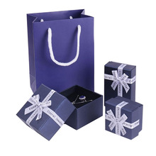 50pcs/lot Nave Floral Necklace Earrings Ring Box 4 size of Jewelry Box Paper Jewelry Gift Box Bags Jewellery Organizer
