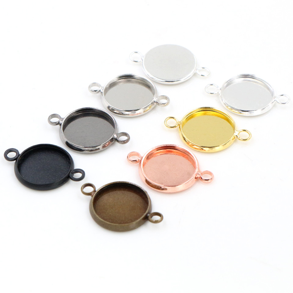 16pcs/lot 12mm Inner Size 7 Colors Simple Style  Brass Cabochon Base Cameo Setting Charms Pendant