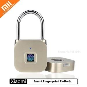 Xiaomi Smart Electronic Fingerprint Padlock USB Rechargeable Door Lock Keyless Zinc alloy Metal Luggage Compartment Padlock(China)