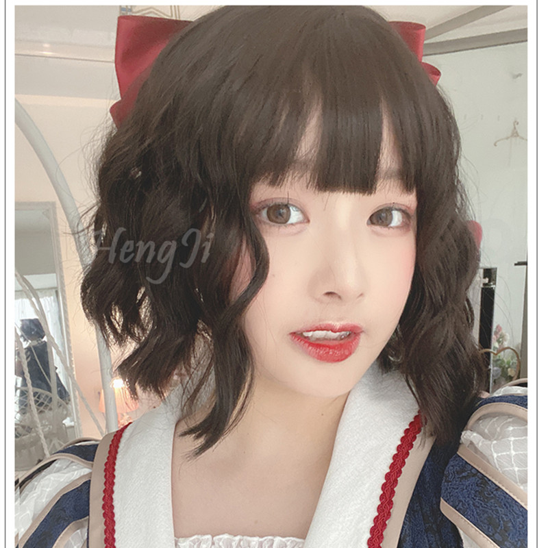 Uwowo Short Curly Wig Black Brown Cosplay Lolita Wigs Heat Resistant Synthetic Hair Anime Party wigsAnime Costumes   -