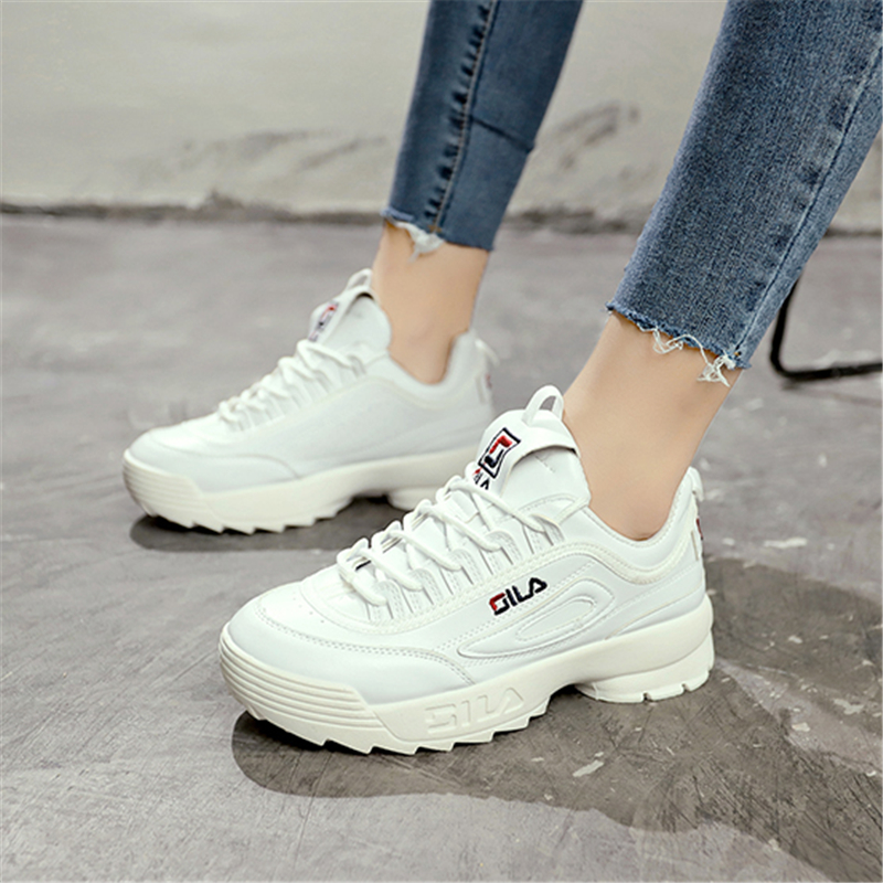 Women Shoes White Fashion Designers Sneakers Ladies Leather Platform Shoes Casual Sports Shoes Pink Walking Shoes Tenis Feminino