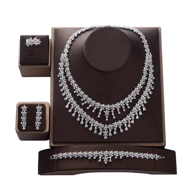 תכשיטי סט HADIYANA Tempartment נשים חתונת יש עוסק שרשרת עגילי טבעת וצמיד סט זירקון CNY0083 Bisuteria