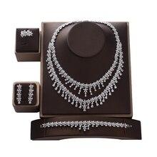 HADIYANA parure de bijoux pour femmes, mariage, fiançailles, collier boucles doreilles, bagues et Bracelet en Zircon CNY0083