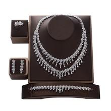 Jewelry Set HADIYANA Tempartment Women Wedding Got Engaged Necklace Earrings Ring And Bracelet Set Zircon CNY0083 Bisuteria