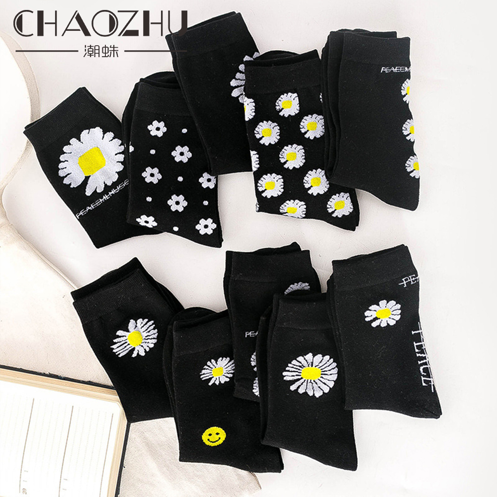 CHAOZHU Fashion Unisex Men Women Korean Black Daisy Peace&love Cotton Causal Socks 10 Colors Smile Lucky G-DRAGON Same Type Sox