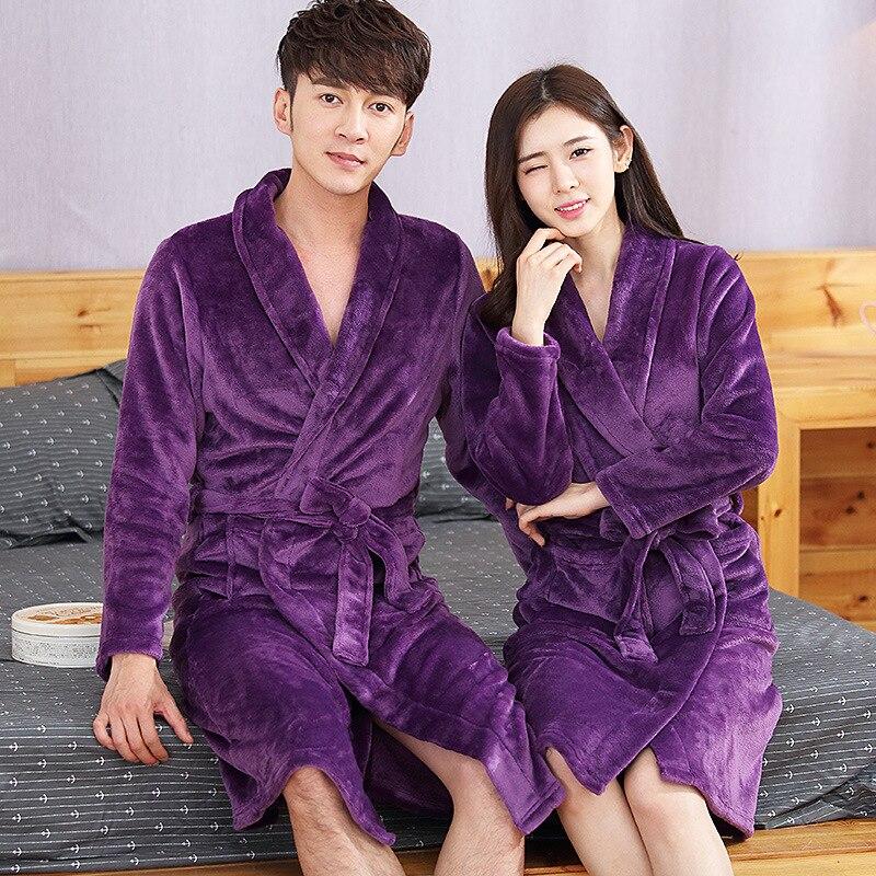 Elegant Solid Purple Lovers Kimono Gown Soft Warm Flannel Robe Sleepwear Women And Men Full Knee-length Nightgown Bathrobe Gown