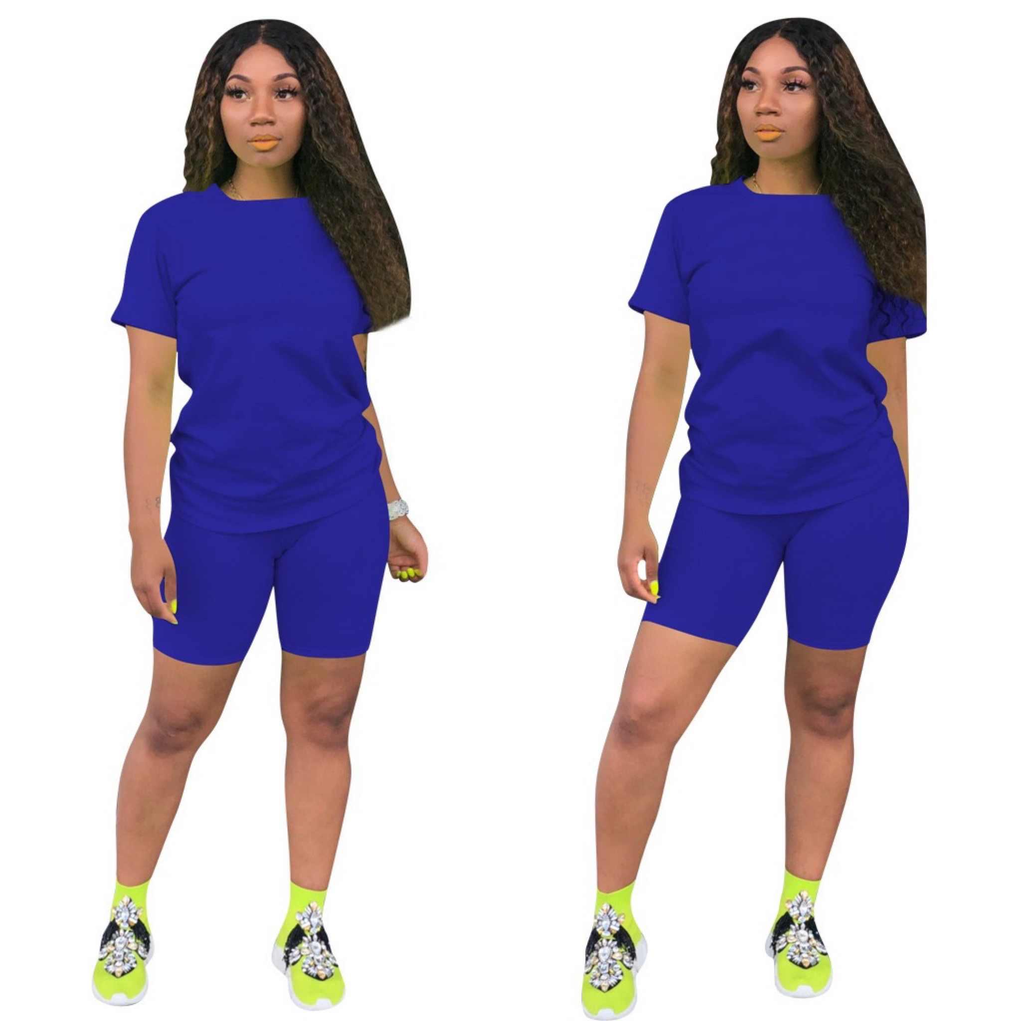 ผู้หญิง2ชิ้นBikerชุดกางเกงขาสั้นเสื้อยืดTop + Bikerกางเกงขาสั้นJogger 2ชิ้นชุดลำลองActive Tracksuitชุด