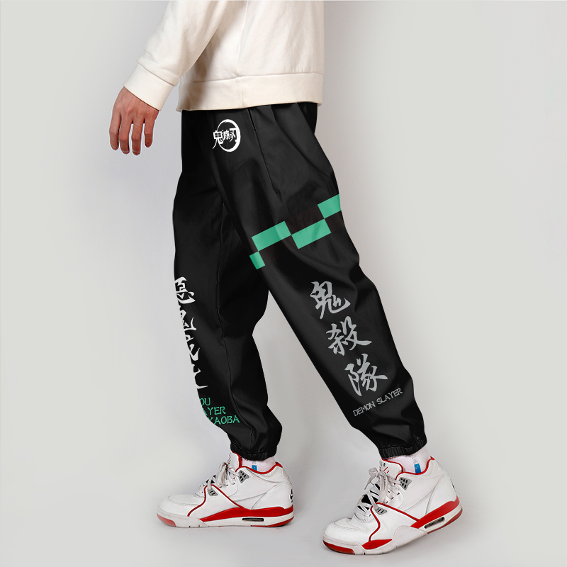 Demon Slayer Casual Hip Hop Joggers Cargo Pants For Men Block Hit Color Pocket Track Pants Male Trousers Sweatpants Streetwear