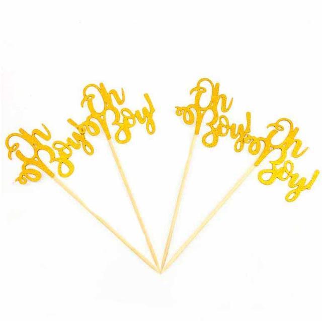 "Gold Glittered ""Oh Baby"" Cake Topper Set 10 Pcs"