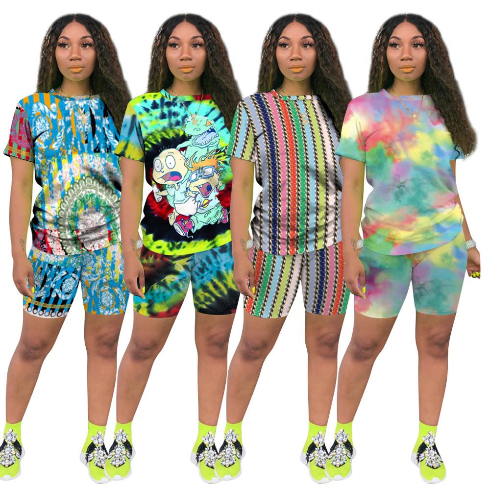 2020  New Print Shorts Set Two Piece Set  T-Shirts +Biker Shorts Se Plus Size Summer Outfits Sport Matching Women Sets