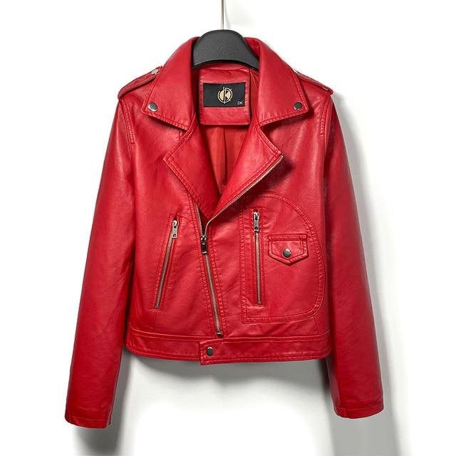 DK 2020 ใหม่มาถึงผู้หญิงฤดูใบไม้ผลิหนังสั้นแจ็คเก็ตหญิงซิป Moto BIKER Faux เสื้อสีดำสีแดง Outwear PLUS ขนาด