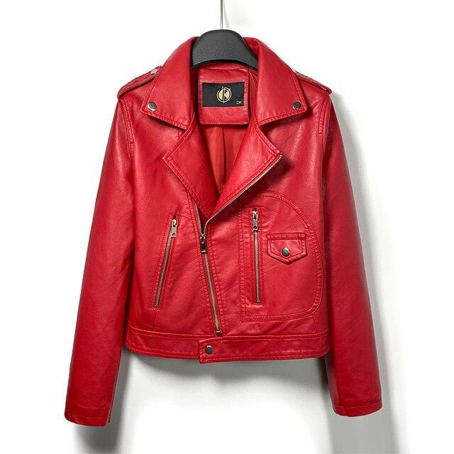 DK 2020 New Arrival Women Spring Leather Short Jacket Female Zipper Moto Biker Jacket  Faux Coat Black Red Outwear Plus Size