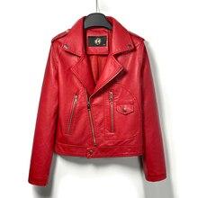 DK 2020 新着女性春革ショートジャケット女性ジッパーモトバイカージャケットフェイクコート黒赤生き抜くプラスサイズ