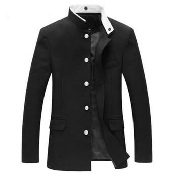 Men Black Slim Blazer Jacket Chinese Style Tunic Suit Long Sleeve Stand Collar Japan School Uniform Coat New 047-4842