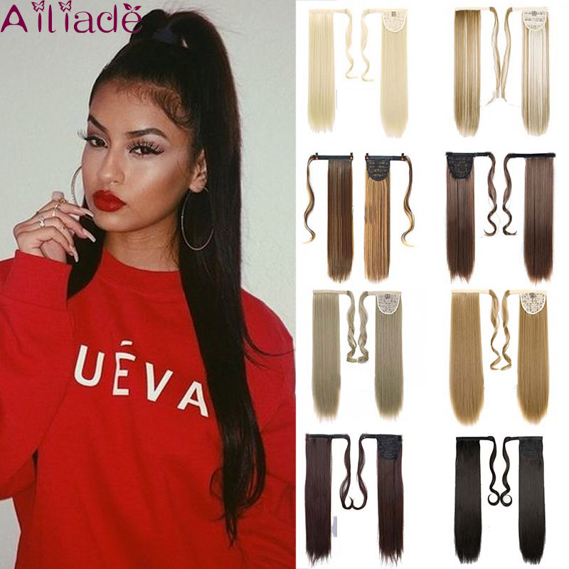 Ailiade 24inch Wrap On Synthetic Long Straight Ponytails For Women Natural Clip In Hair Extension Hairpieces False Hair Black