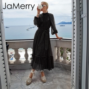 Image 2 - JaMerry Vintage otoño las mujeres largo maxi vestido elegante manga lantern dibujo de lunares vestidos de playa vestidos estilo