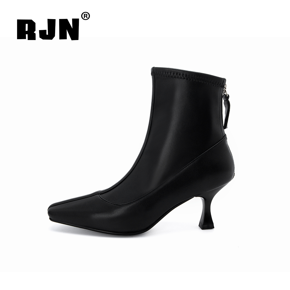 Buy RJN Fashion Ankle Boots Elastic Fabric Solid Comfortable Square Toe Thin High Heel Zipper Shoes Warm Women Boots For Winter RO11