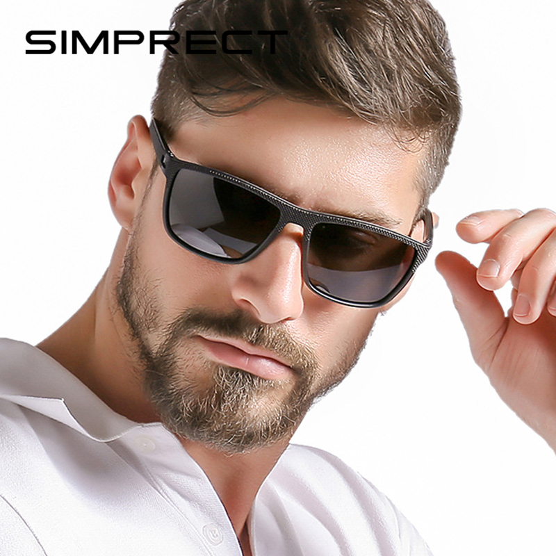 SIMPRECT TR90 Polarized Sunglasses Men 2020 Driver's UV400 Square Sunglasses Retro Vintage Sun Glasses For Men Anti-Glare Oculos