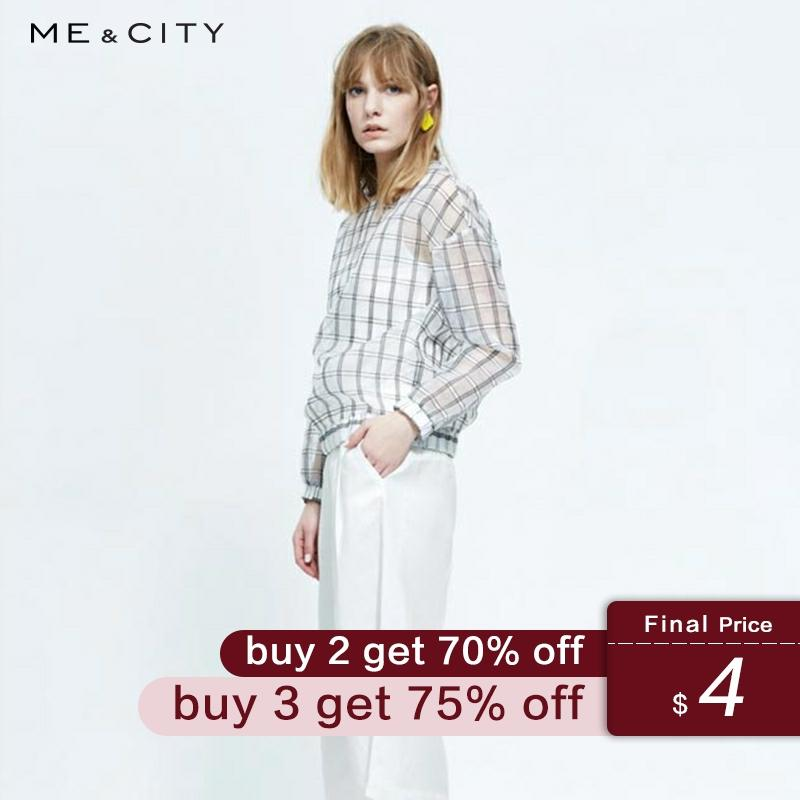 ME&CITY Women Transparent Lattice Pullover Blouse Spring Summer New Casual Comfort Personality Design Shirt