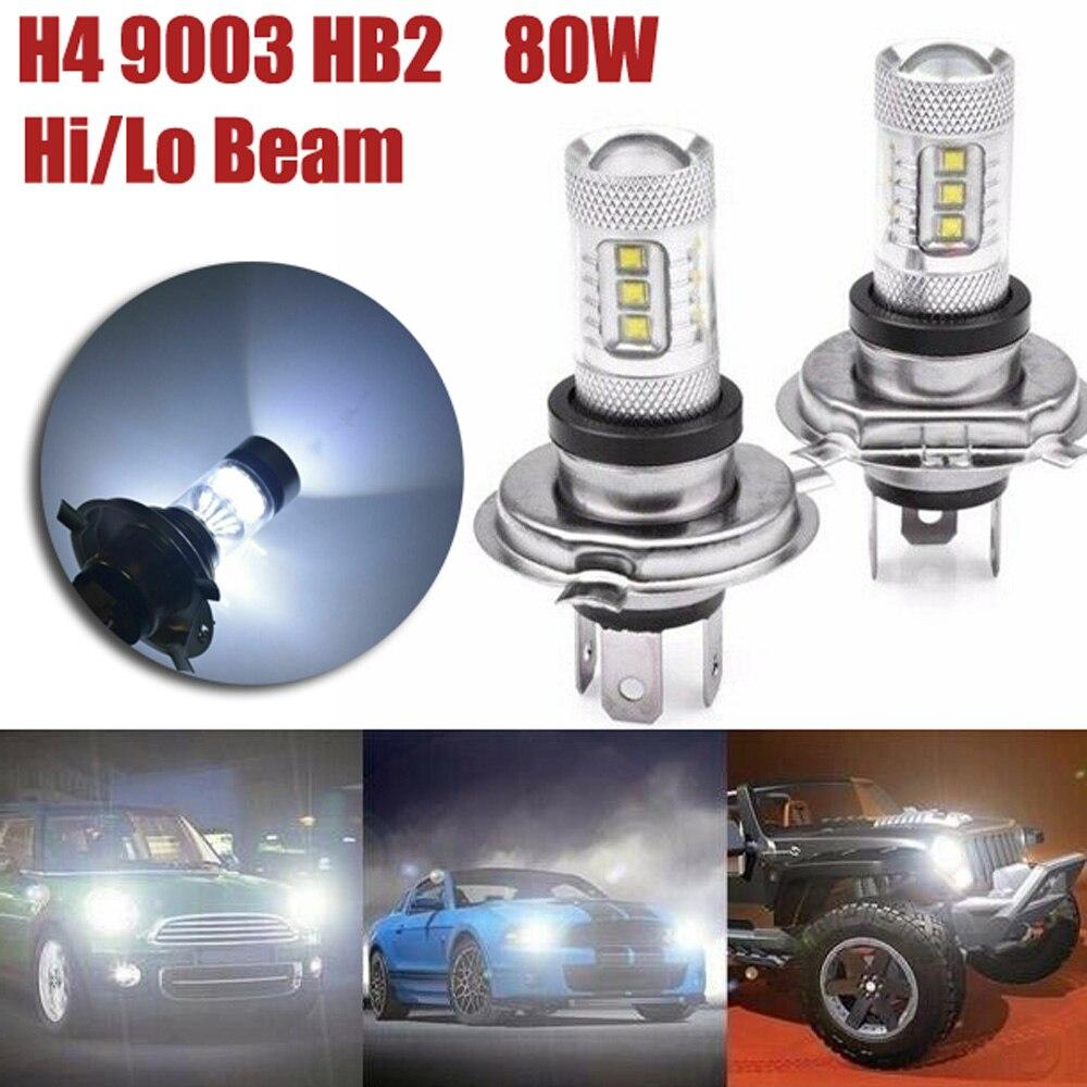 2pcs H4 9003 HB2 12V-24V 60W Car 20-SMD XB-D LED Headlight Kit Light Lamp Bulb 1800LM 8000K High Low Beam Car LED Light