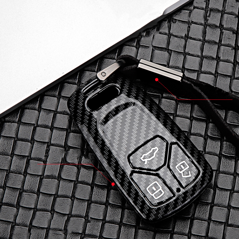 2020 Car Key Cover New ABS Carbon fiber Covers For Audi A1 A3 A4 A5 A6 A7 A8 B9 Quattro TT TTS 8S Q3 Q5 Q7 2009-2017 Ring