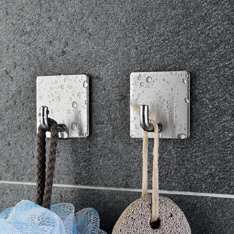 5pcs  Bathroom And Kitchen Hooks Door Wall Hanger Wall Hooks  Hanger Self Adhesive Robe Towel Hook 304 Stainless Steel Genuine