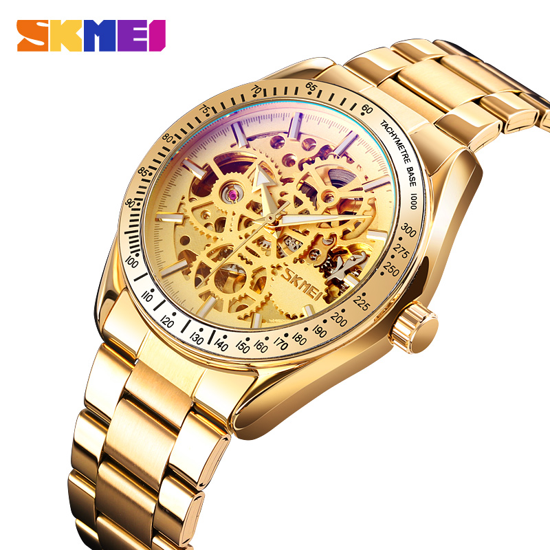 SKMEI Sports Men's Hollow Quartz Watches Luminous Men Watch Automatic Mechanical Wristwatches Waterproof Relogio Masculino 9194