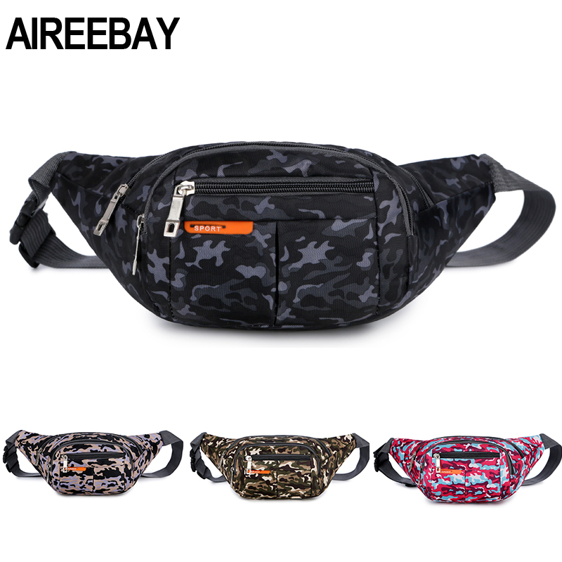 AIREEBAY High Quality Travel Camouflage Women Waist Bag Hip Bag Travel Leisure Fanny Pack Men Large Capacity Chest Belts Bag