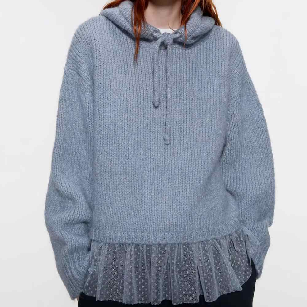 ZA 2019 sweater women winter blue knitted stitching lace ruffles hooded long sleeve sweater o-neck Casual fashion female tops