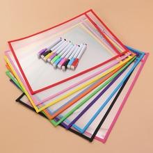 Storage-Bag Dry-Erase-Pockets Office-Supplies Transparent PVC 20pcs 10-Pens Reusable