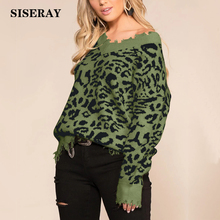 New 2019 Leopard Print Distressed Sweater Womens Sexy V Neck Oversized Knit Jumper Streetwear Autumn Winter Loose Frayed Sweater