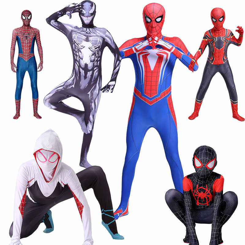 Costume Spiderman adulte jeu Spider Man Costume enfants enfants impression 3D Spider-Man Cosplay vêtements Avengers Infinity War retour