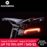 ROCKBROS-Luz trasera de bicicleta inalámbrica y recargable vía USB, faro inteligente resistente al agua, con control remoto