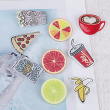 1pc Korean Lovely Cartoon Acrylic Badges Pins For Clothes Backpack Button Banana Coke Lemon Pizza Coffe Decorating Lapel Brooch