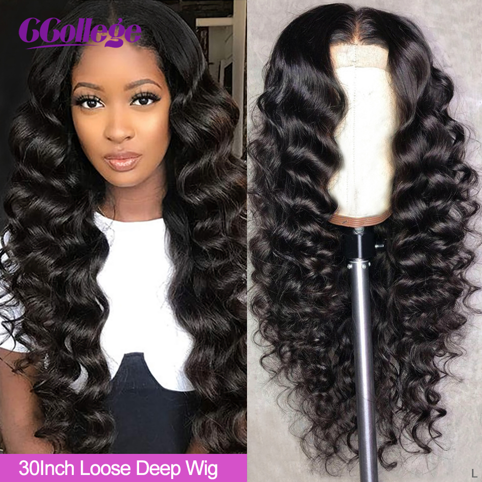 Ccollege Loose Deep Wave 30 Inch 13x6 Lace Front Wigs Human Hair Brazilian Lace Closure 150 High Density Wigs For Women Non-Remy