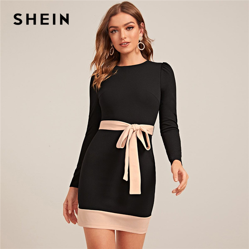 SHEIN Two Tone Elegant Bodycon Dress With Belt Women Spring Long Sleeve Zipper Back High Waist Office Lady Short Pencil Dresses 1