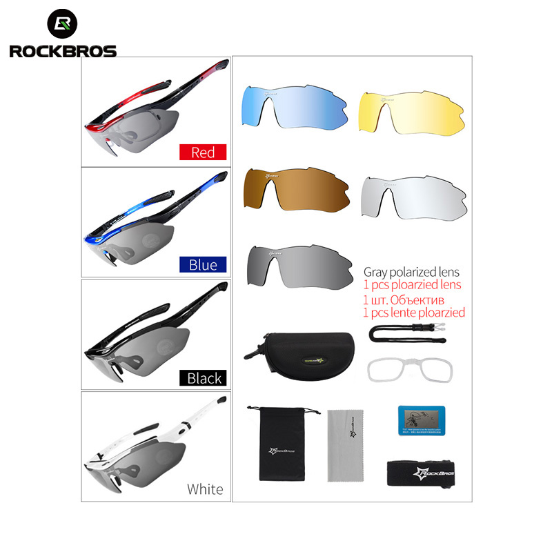 Cycle Sunglasses Rockbros Polarized Eyewear Sports-Goggles 5-Lens Road MTB Protection