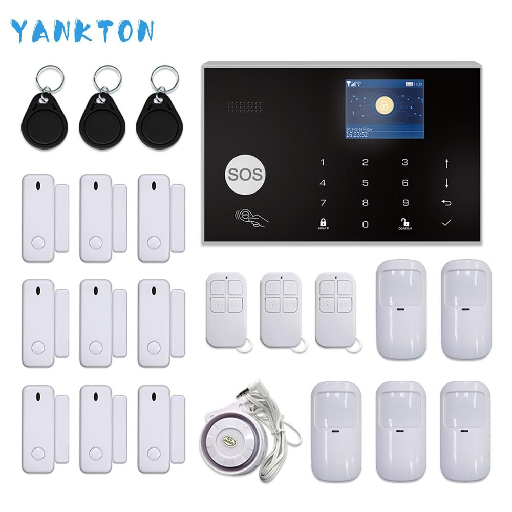 Tuya wifi gsm sistema de alarme de segurança em casa do assaltante 433 mhz app controle lcd teclado toque 11 idiomas sistema alarme sem fio kit
