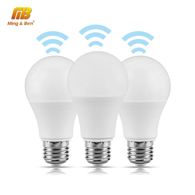 Lámpara de inducción LED inteligente IC E27 5W 7W 9W 12W 85-265V bombilla LED blanca de 360 grados iluminación de inducción de Radar